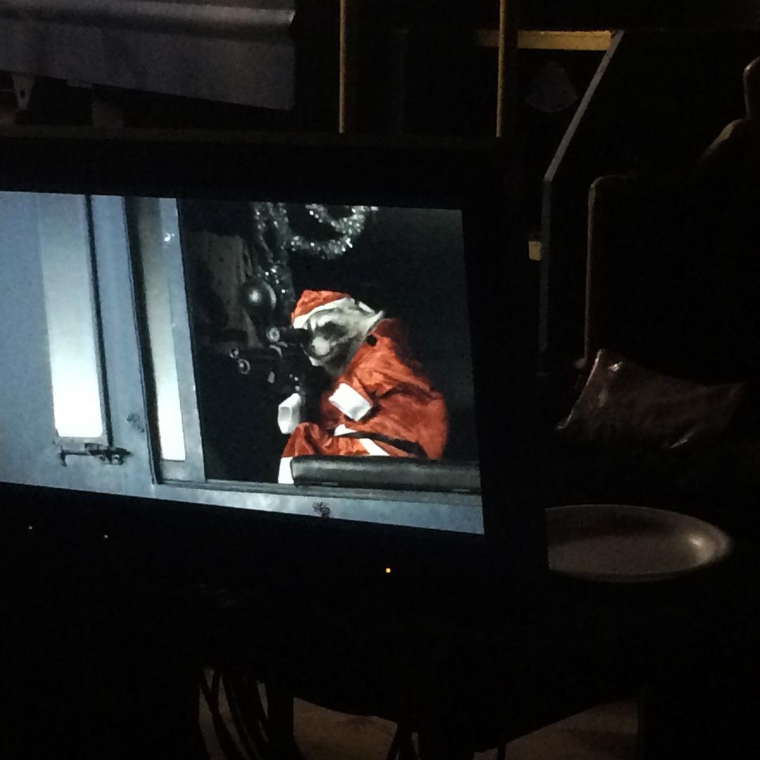 The Raccoon sized machine gun prop in action   Killer Raccoons! 2! Dark Christmas in the Dark!