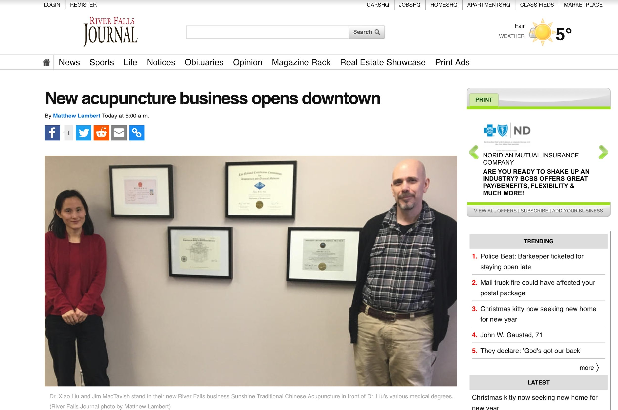 """River Falls Journal, """"New Acupuncture Business Opens Downtown"""" by Matthew Lambert 5 January 2017"""
