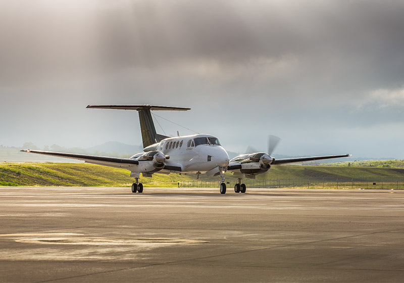 Air Charter Co-ordinators King Air ready for take off from Wellcamp Airport
