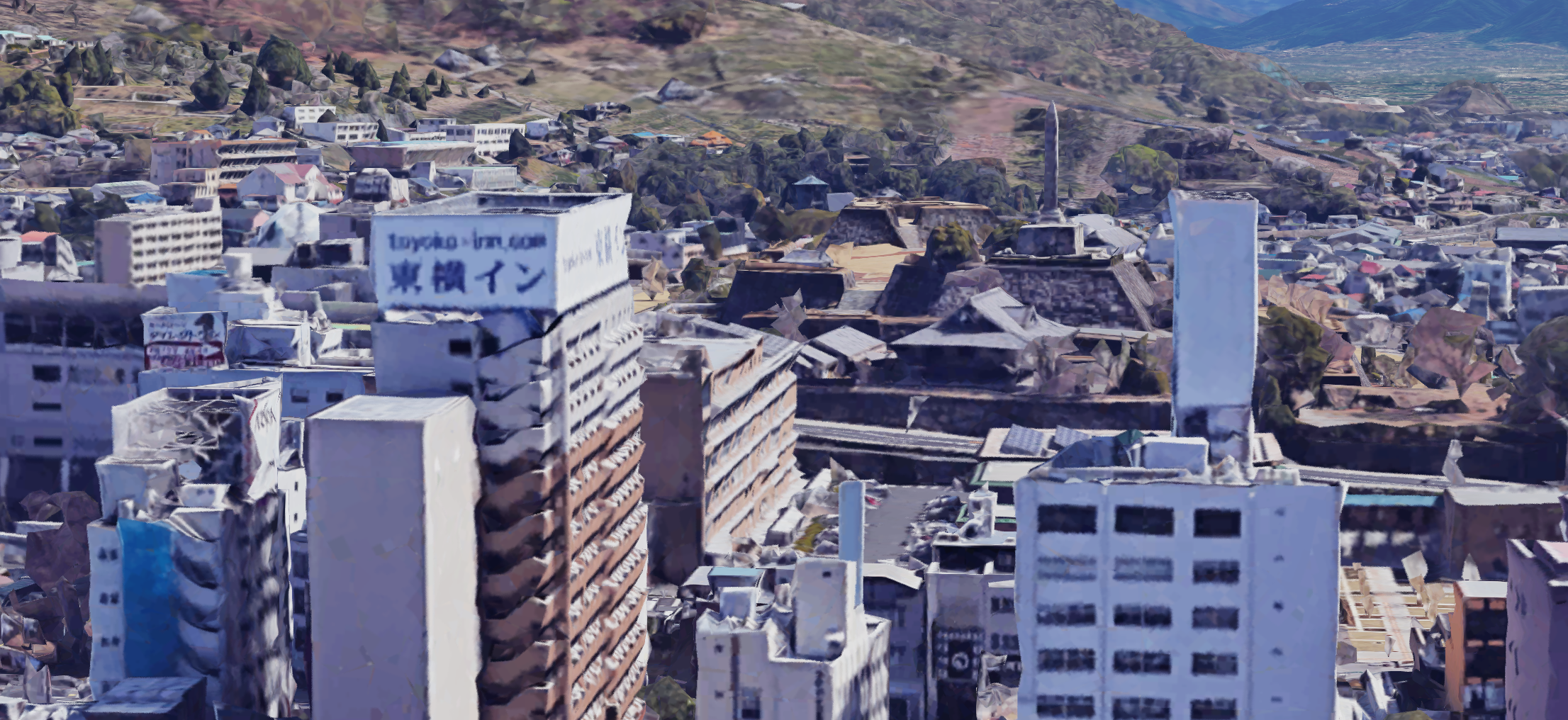 The hotel with the ruins of Kofu Castle behind it