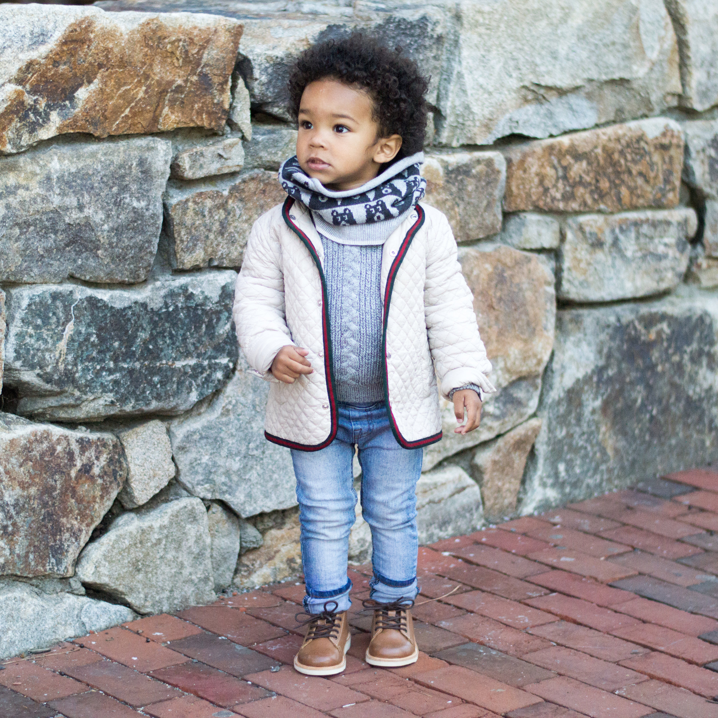snood:  the bonnie mob   jacket:  gucci   sweater:  oh my baby   pants:  beau hudson   shoes: young soles from  munchkin et moi
