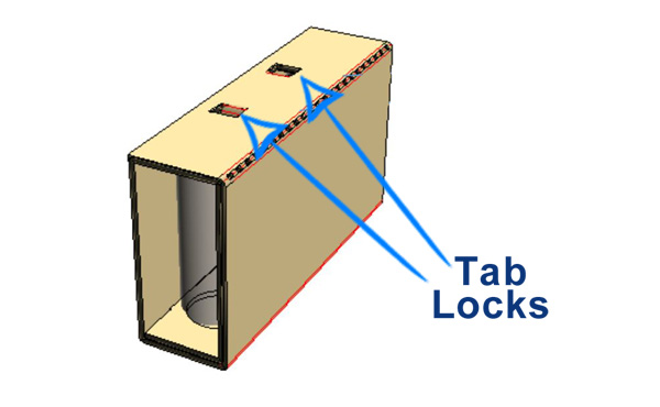 - With the cans upright, Tab Locks will be visible. Press Tab Locks downward through roll-up and bend over to lock unit together. Place into USPS Flat Rate Shipper box, repeat, and place on top of prior unit.