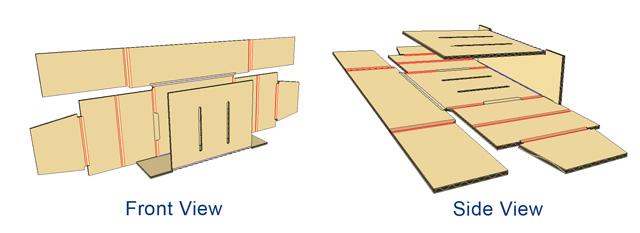 - Fold bottom to flaps 90 degrees.