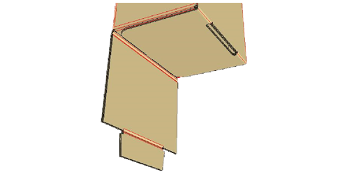 Fold in flap with slot -
