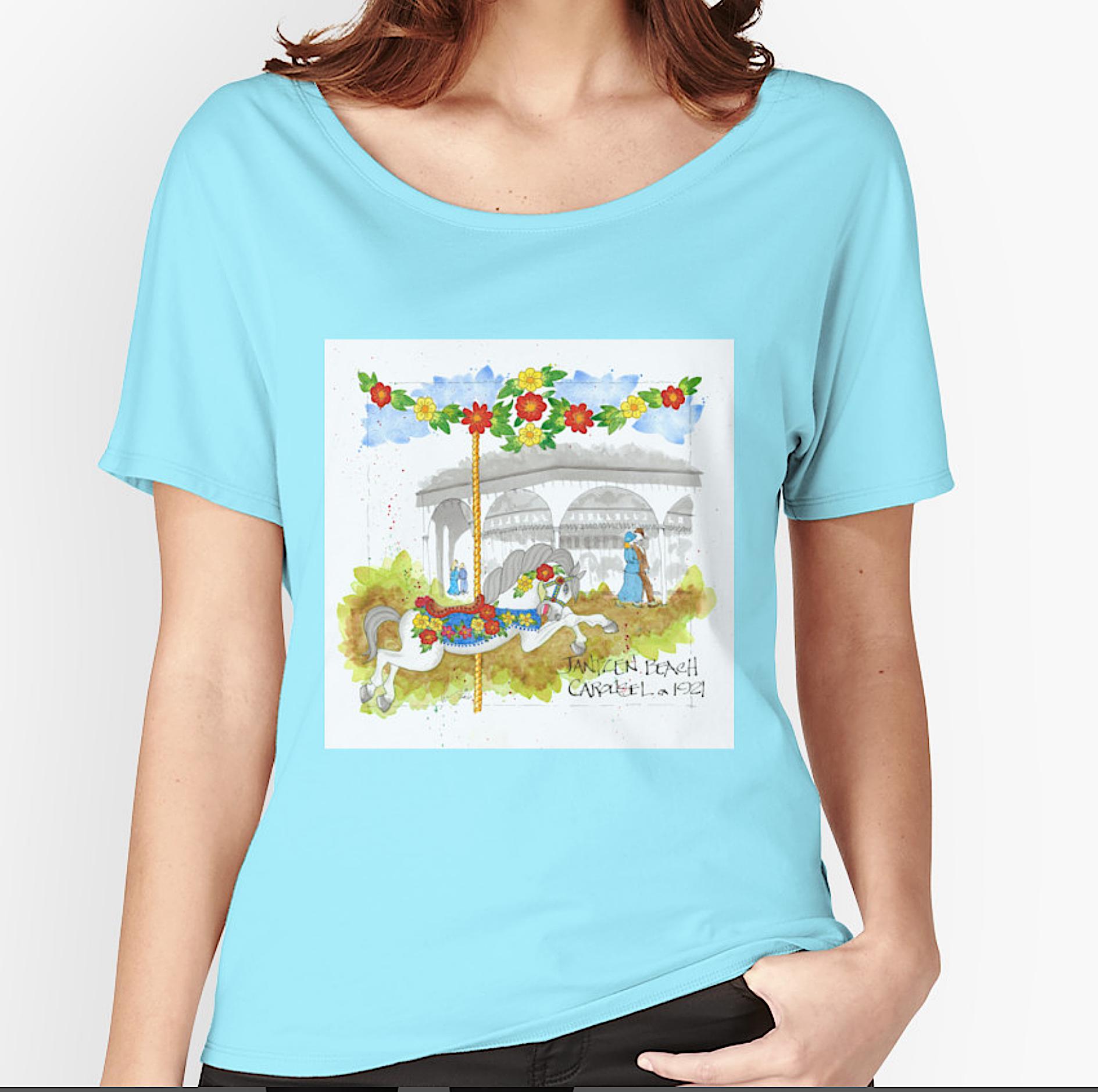 Janntzen Beach Carousel Floral Horse
