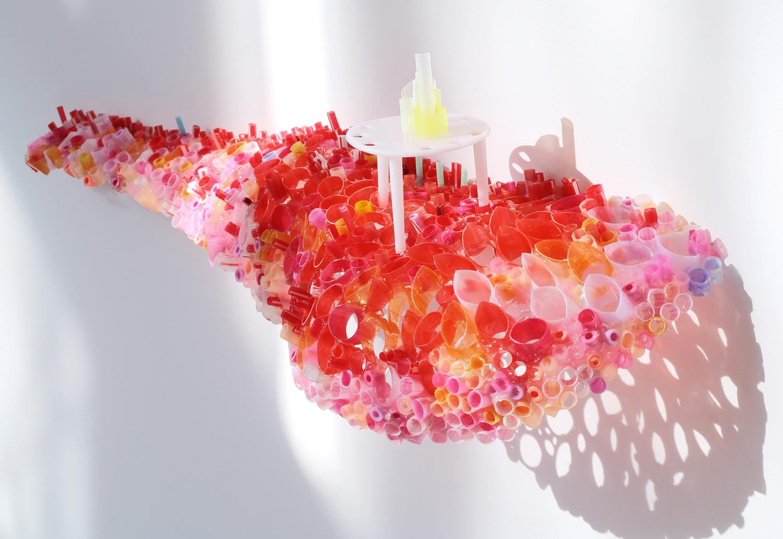 "Fire Fungus Bluff  Plastic drinking straws, Pearler Beads, plastic pizza ring  5"" x 16"" x 4"""