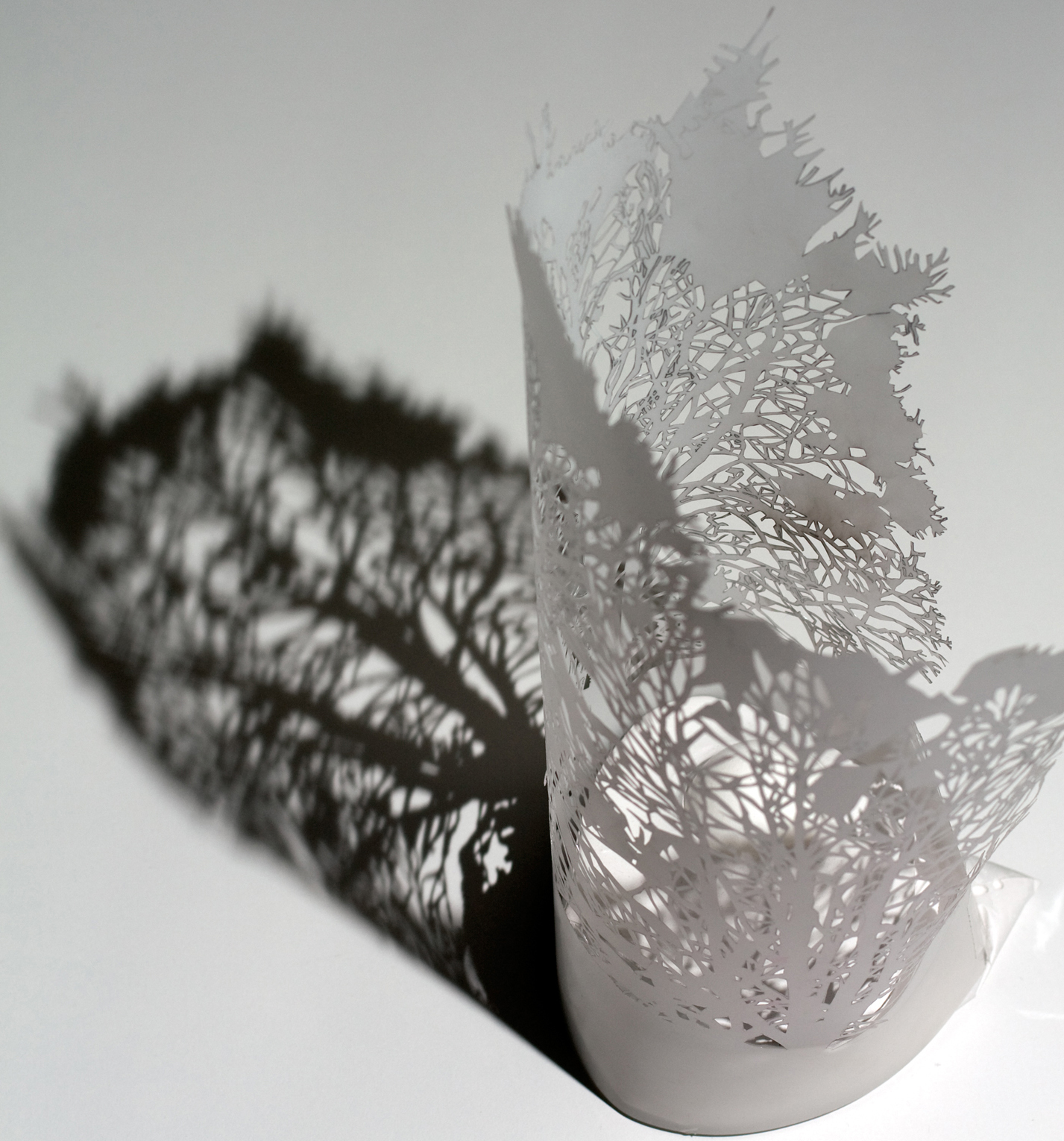 Tree Cut-Out  Handcut frosted mylar, poultry shell, hydrocal 15x8x8""