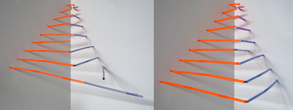 """Opposites Attract  Drilled holes in sheetrock wall, drinking straws, earth magnets approximately 18"""" x 24"""" x 12"""" (varies)  Description: Interactive wall installation. Viewers are encouraged to re-compose the drinking straws that are attracted to the other drinking straws due to the pre-inserted magnets"""