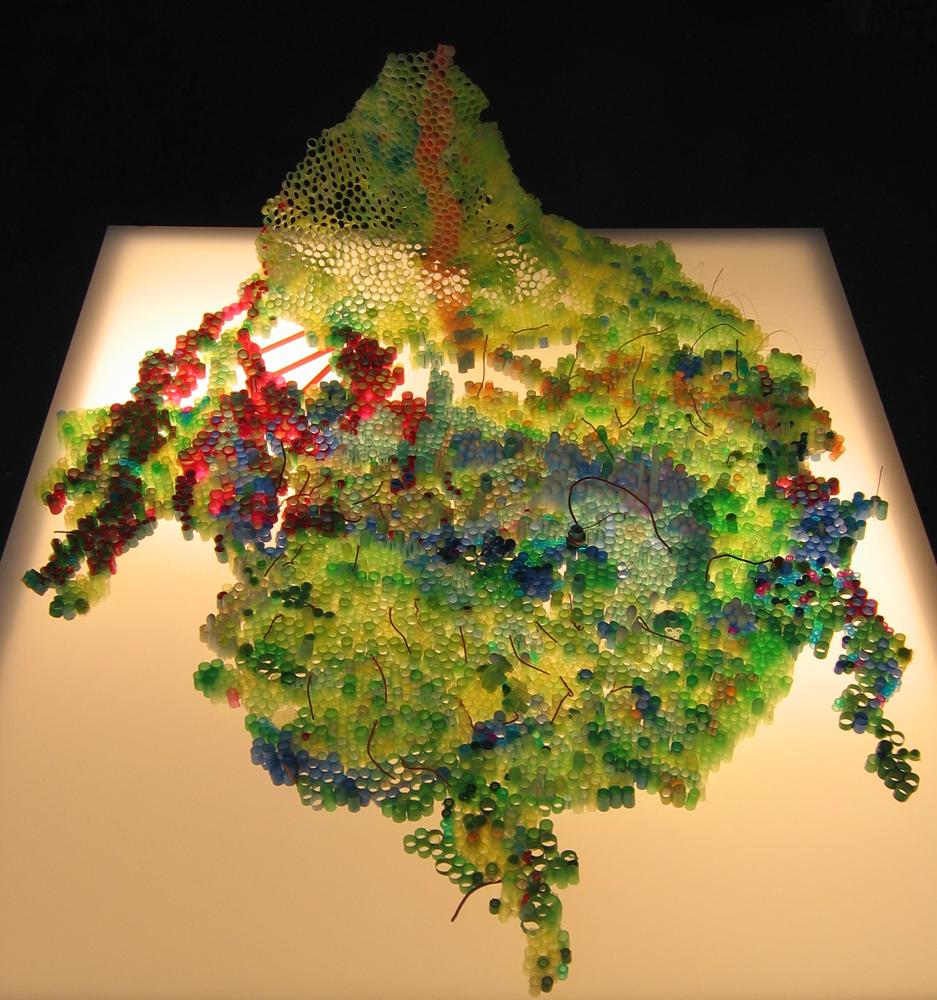 "Perelandria  Plastic drinking straws, pompoms, Pearler Beads, colored wire, illuminated pedestal 5 1/2"" x 23"" x 20"""