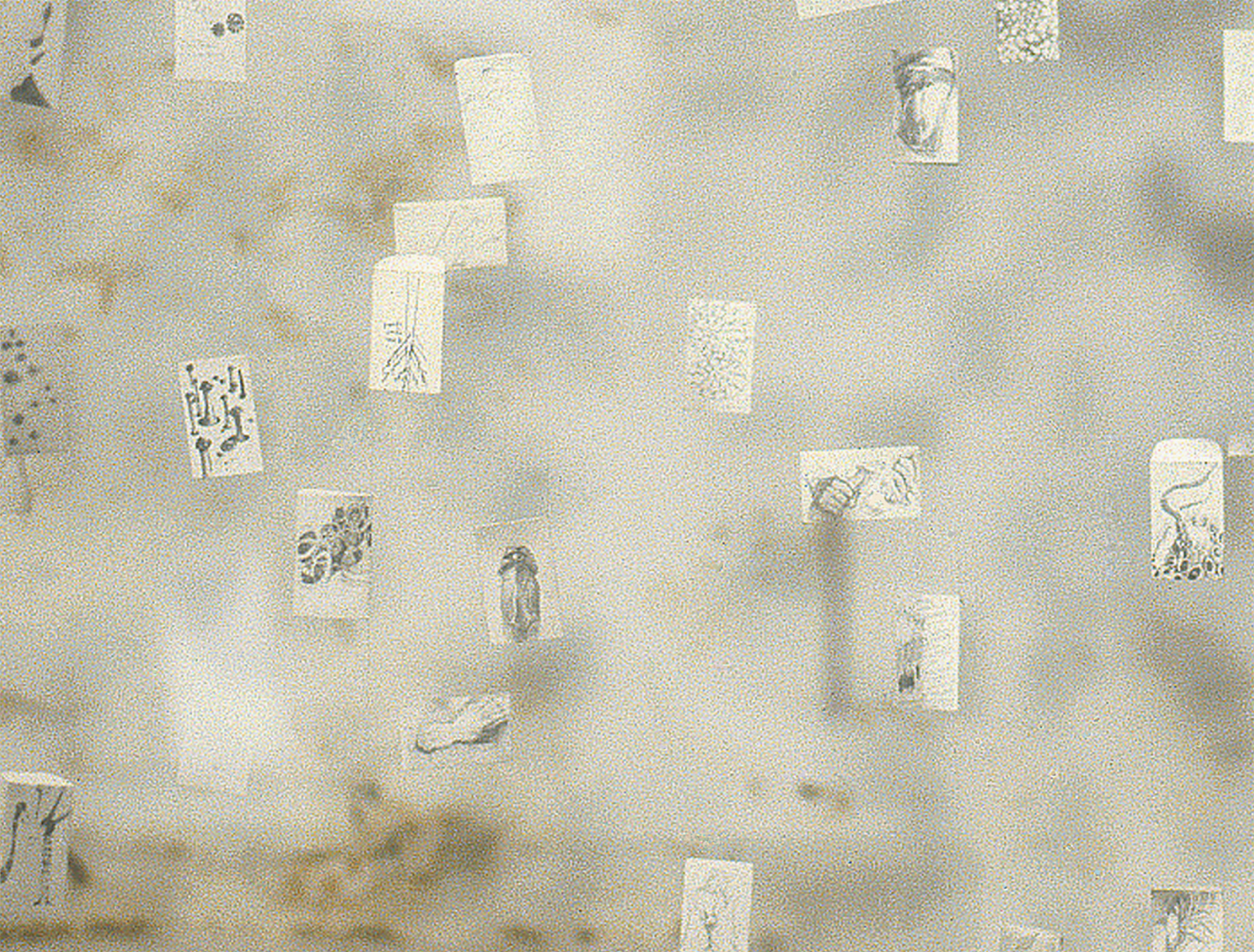 Private Mail  Detail of drawings suspended on monofilament