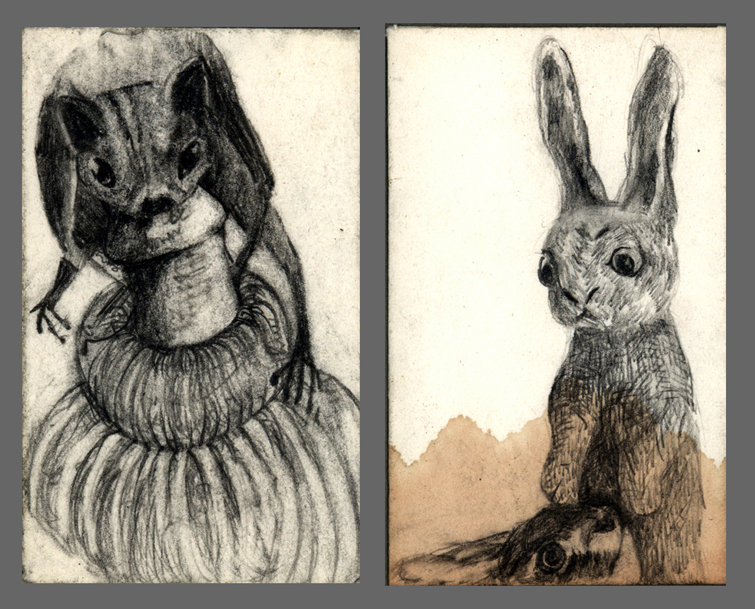 "Nibble  Selected drawings from Private Mail Pencil on 1 3/4"" x 2 3/4"" envelopes"