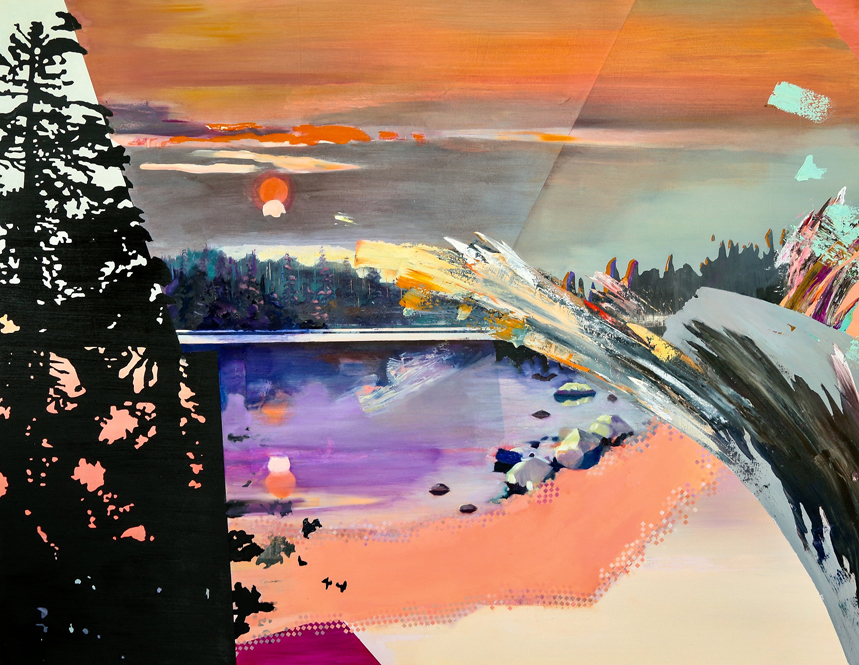 """PCT: Oregon    Sunset    and Fire,  36""""x46"""", oil on panel. To purchase this piece visit Adelman Fine Art at https://adelmanfineart.com/artist/annie-varnot"""
