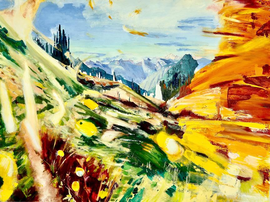 "PCT- Washington Sun and Fire, 36""x48"", oil on panel.  To purchase please visit Adelman Fine Art    SOLD"