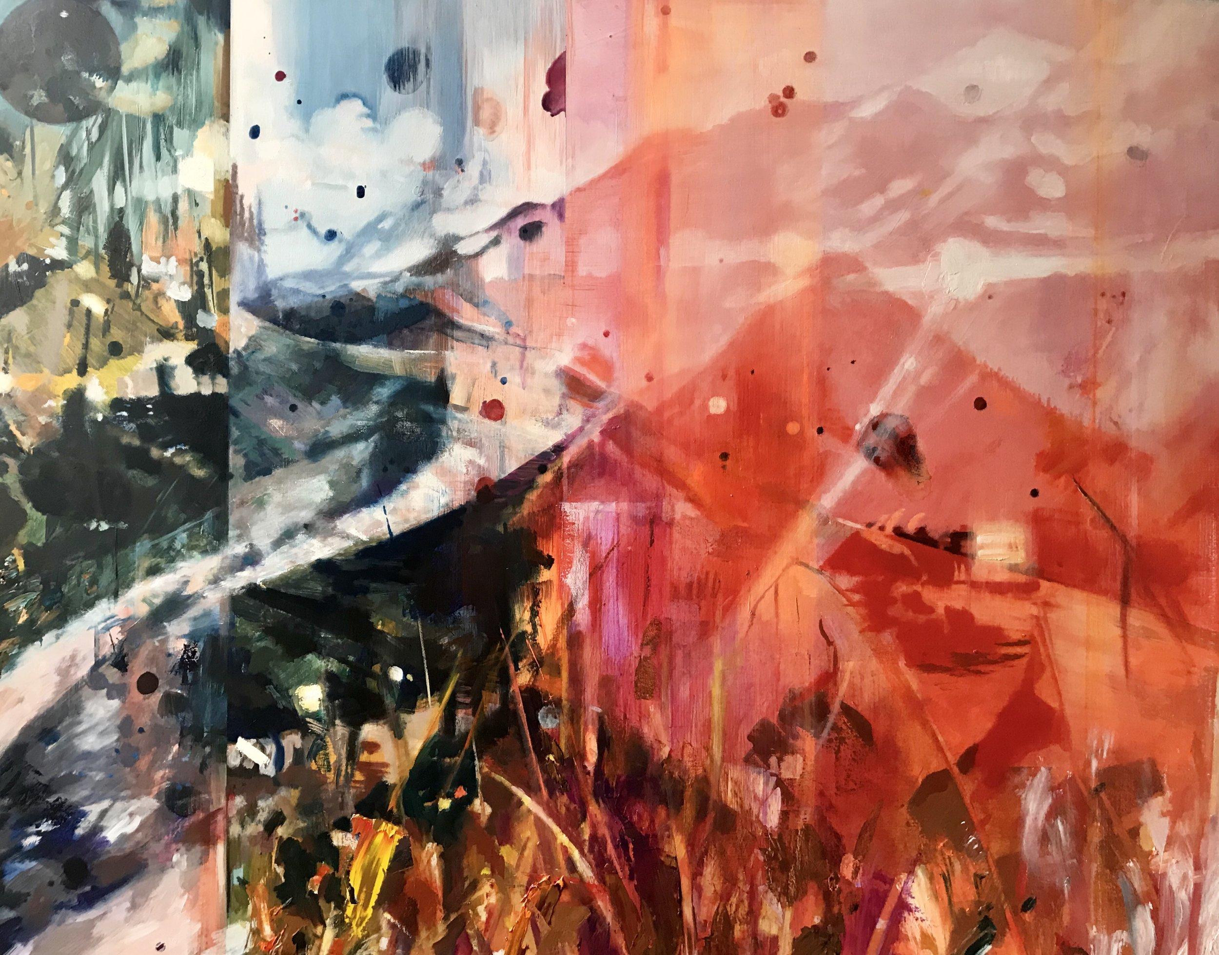"PCT: Hemoglobin Stardust , oil on panel, 36""x46"" .  To purchase this piece visit Adelman Fine Art at https://adelmanfineart.com/artist/annie-varnot"