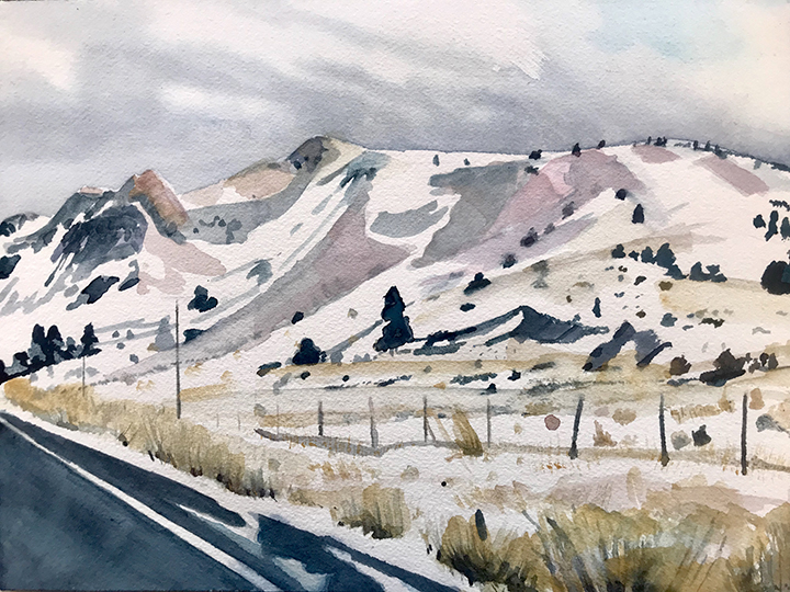 "Oregon Highway 31,  9x12"", watercolor on paper, for purchase please contact  https://www.redfoxartgallery.com/"