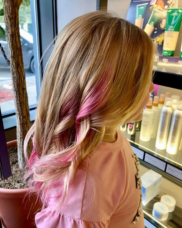 This little lady almost cried when she saw her hair! Thank you, Norah, for the reminder of how what we do is so much more than a simple hair color! 💕💗💞 #avedacares #avedavibrants #vibrants #avedacolor #avedaartist @aveda @avedaartists
