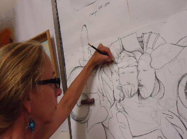 Artist Ann Wydeven in her studio