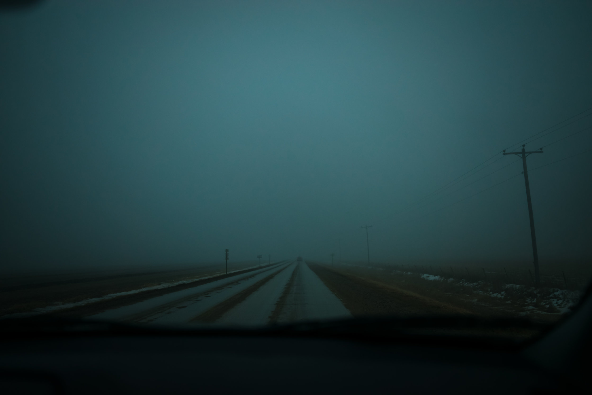 Driving through thick fog in Iowa