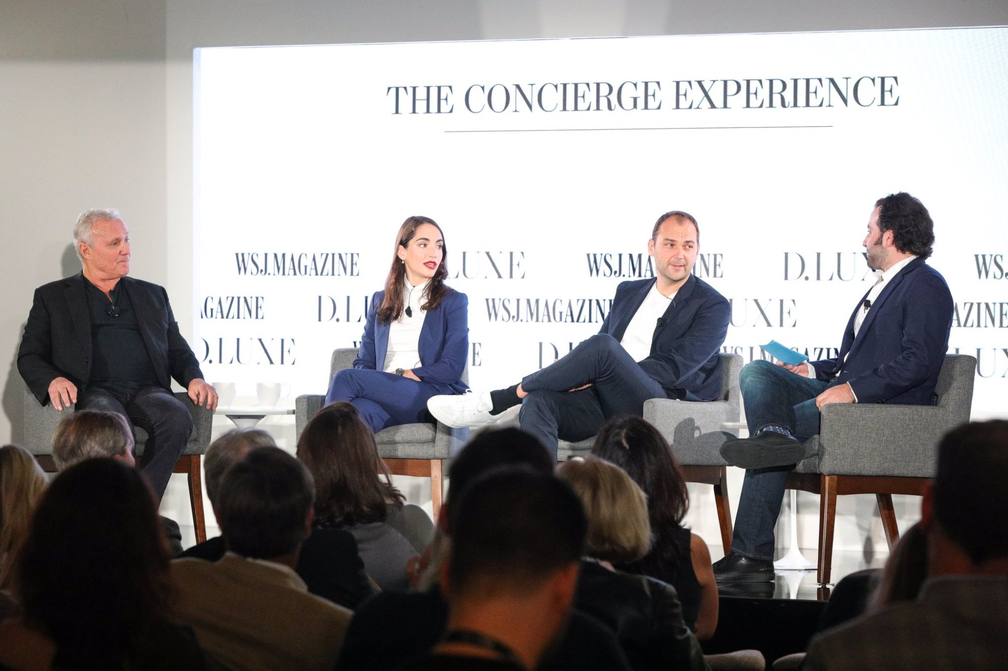 Ian Schrager, Marcela Sapone, Daniel Humm, Howie Khan at WSJ D.Luxe conference.