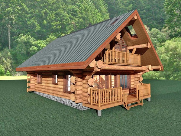 Log-Home-Made-In-Ontario-Canada-2-storey Design-Facing-Side And-Front-Of-House-The-Treasure-Cabin.jpg