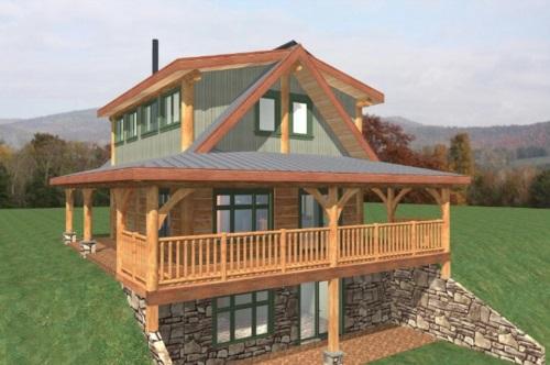 Log-Home-Built-Ontario Canada-2-storey Design-Facing-Back-And-Side-Of-Split-level-House-The-Fraser-Cabin-Square-Timber-Design.jpg