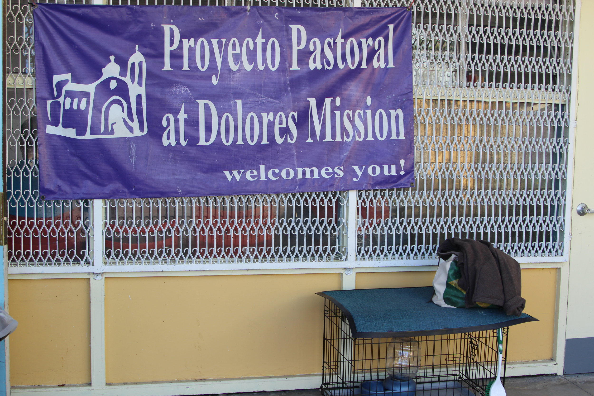 Outside the Proyecto Pastoral women's shelter.