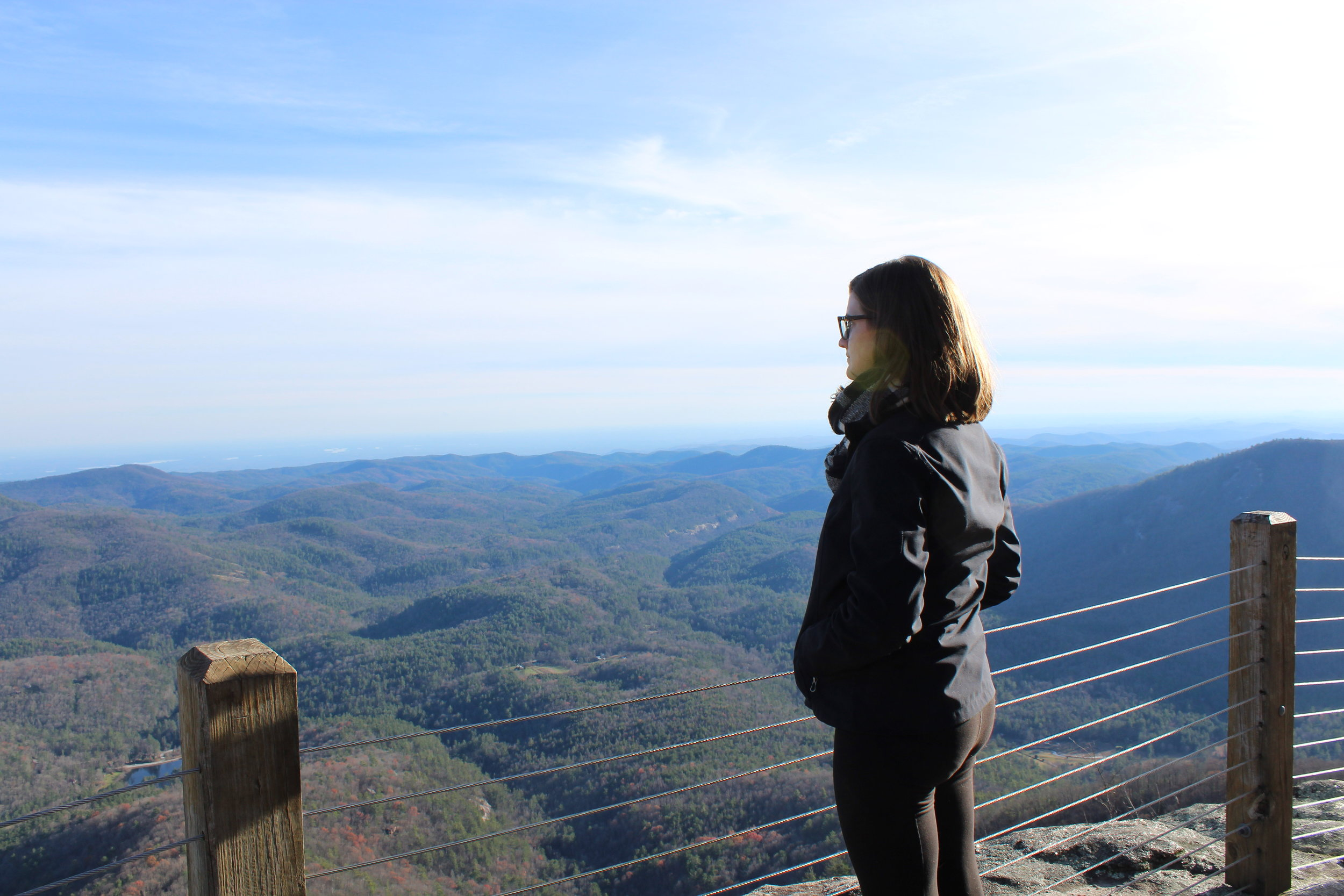Reflecting at the top of Whiteside Mountain in North Carolina.