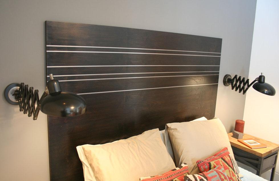 Wood Headboard w/ Metal Inaly