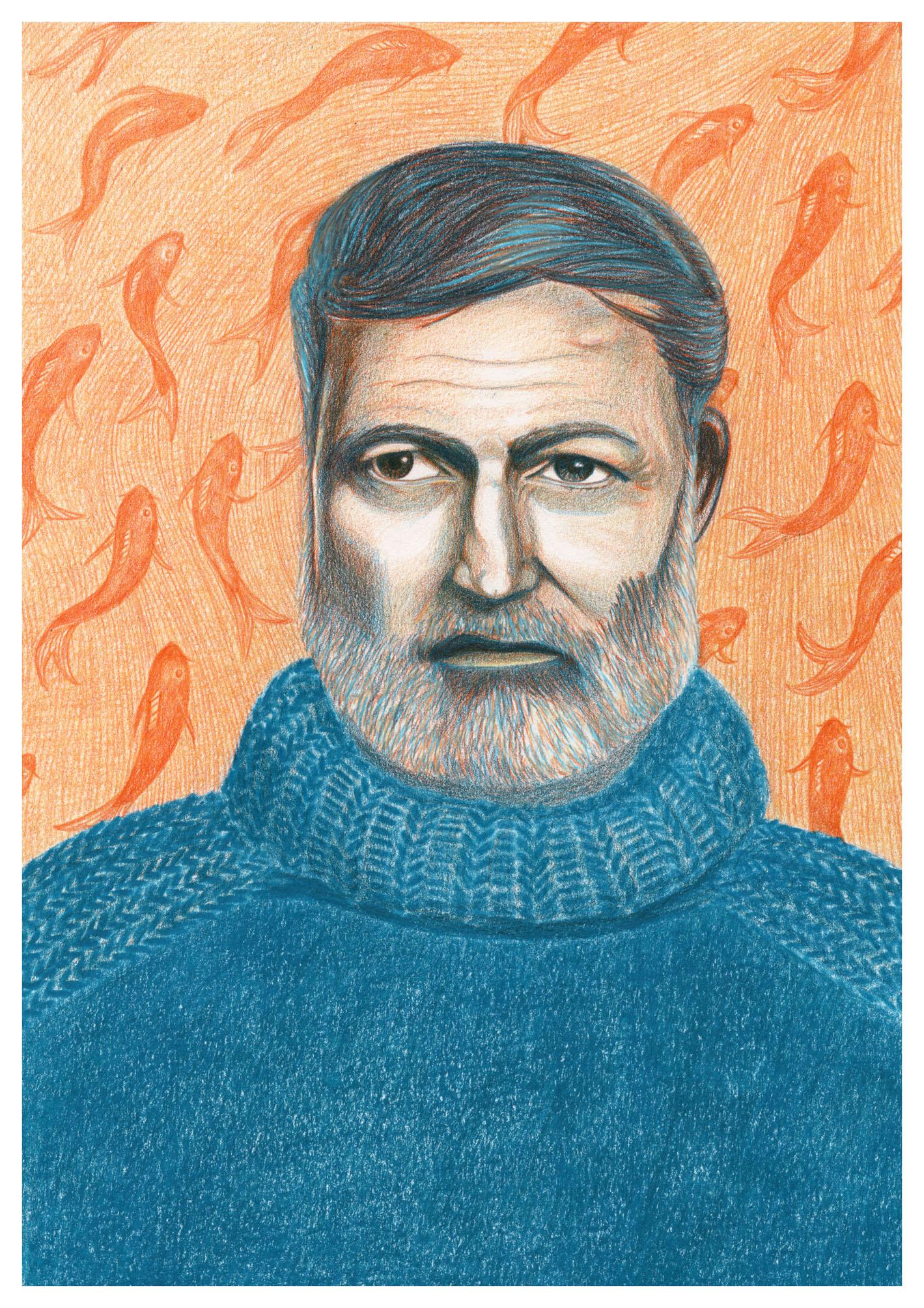 my finished illustration of Ernest Hemingway