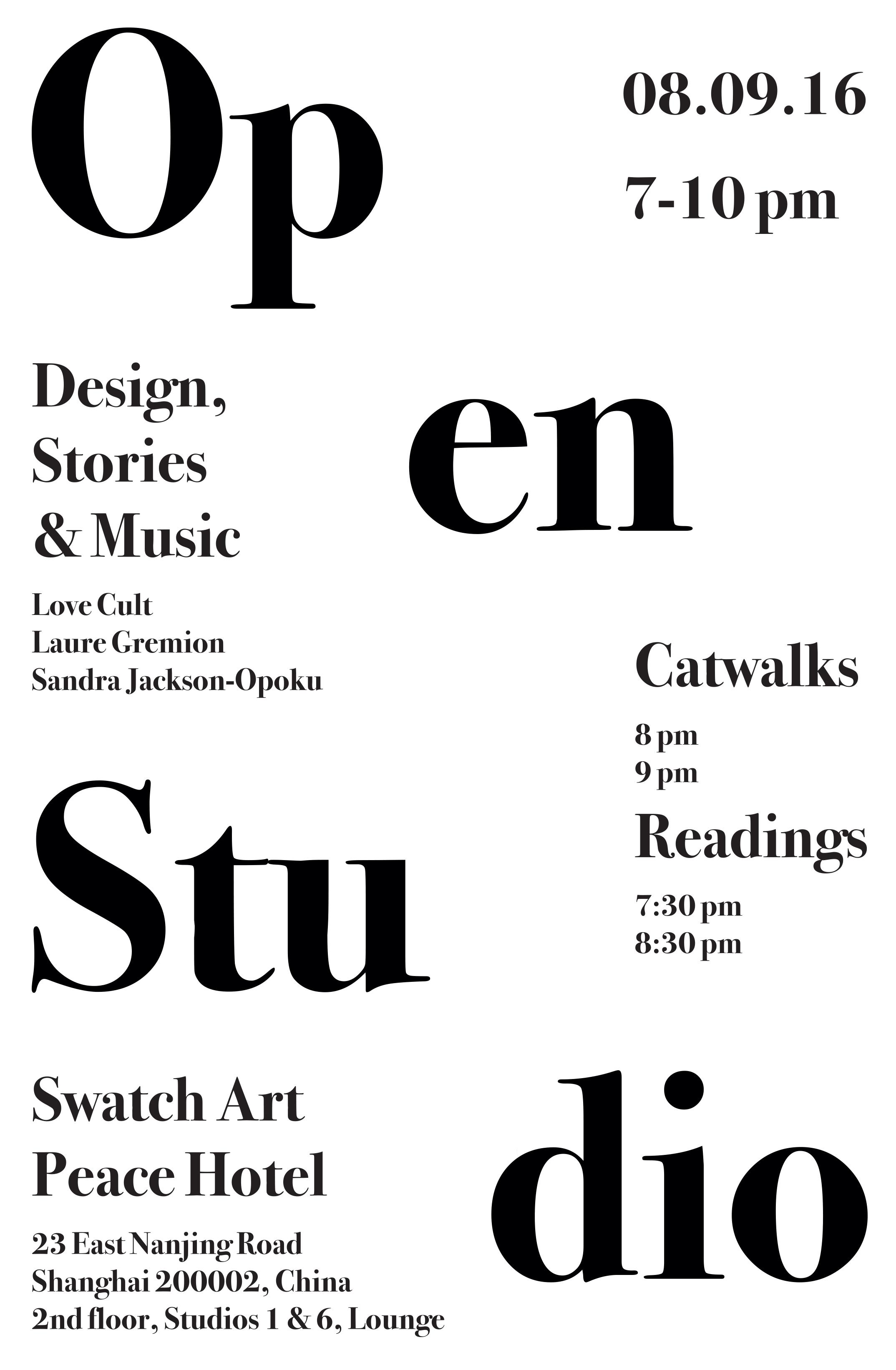 Open Studio Catwalk at Swatch Art Peace Hotel, Shanghai, China, 08.09.2016