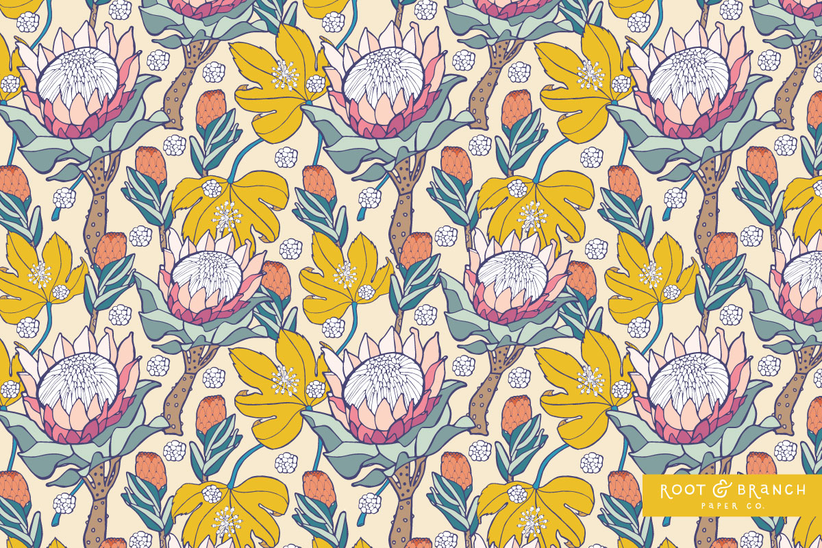 Protea Picnic Collection by Jessie Tyree Jenness for Root & Branch Paper Co.