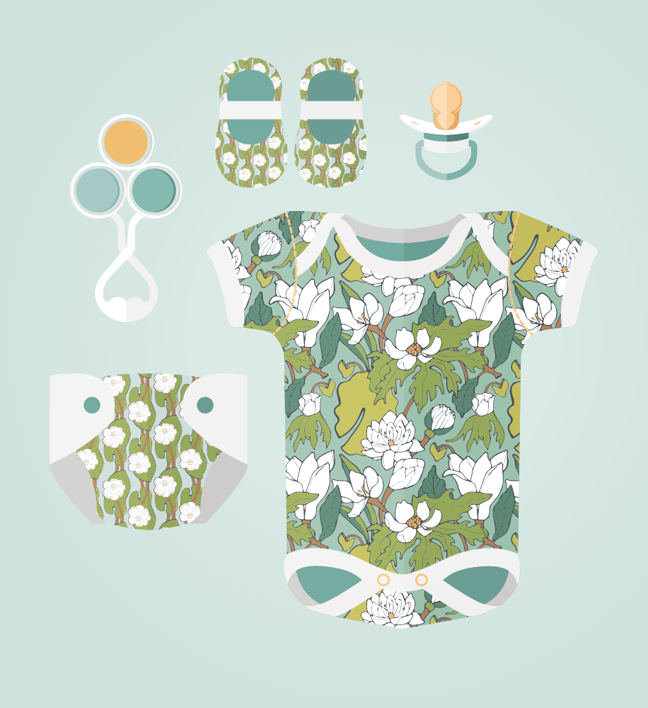 Lotus Leaf Baby Clothes by Jessie Tyree Jenness