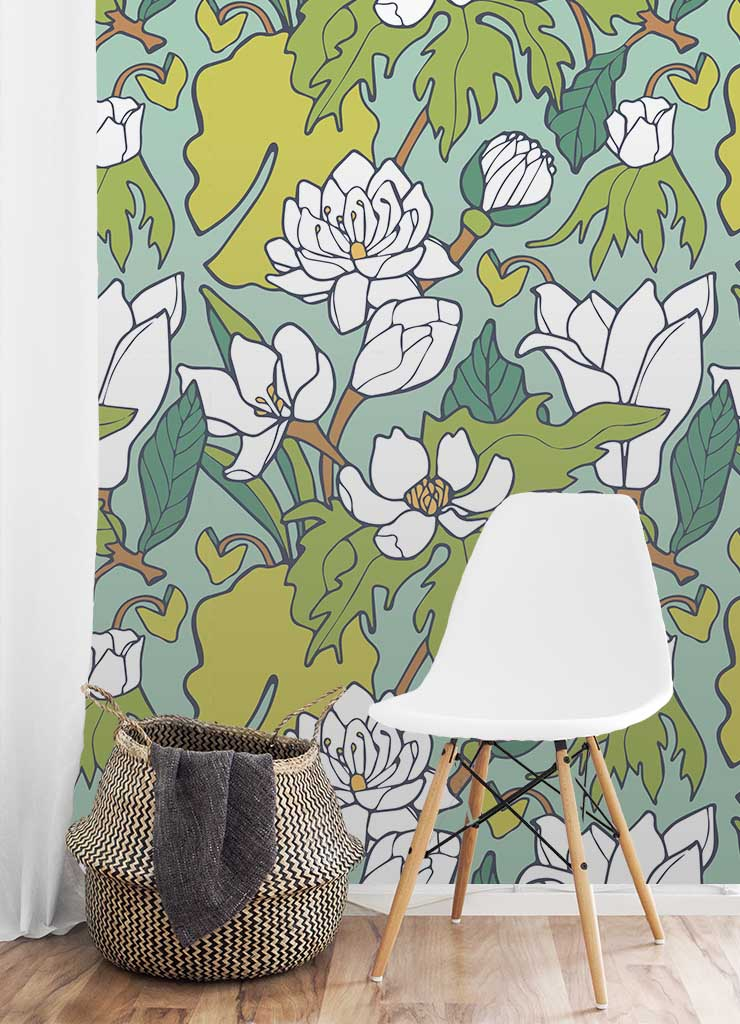 Water Lily & Lotus Wallpaper by Jessie Tyree Jenness for Root & Branch Paper Co.