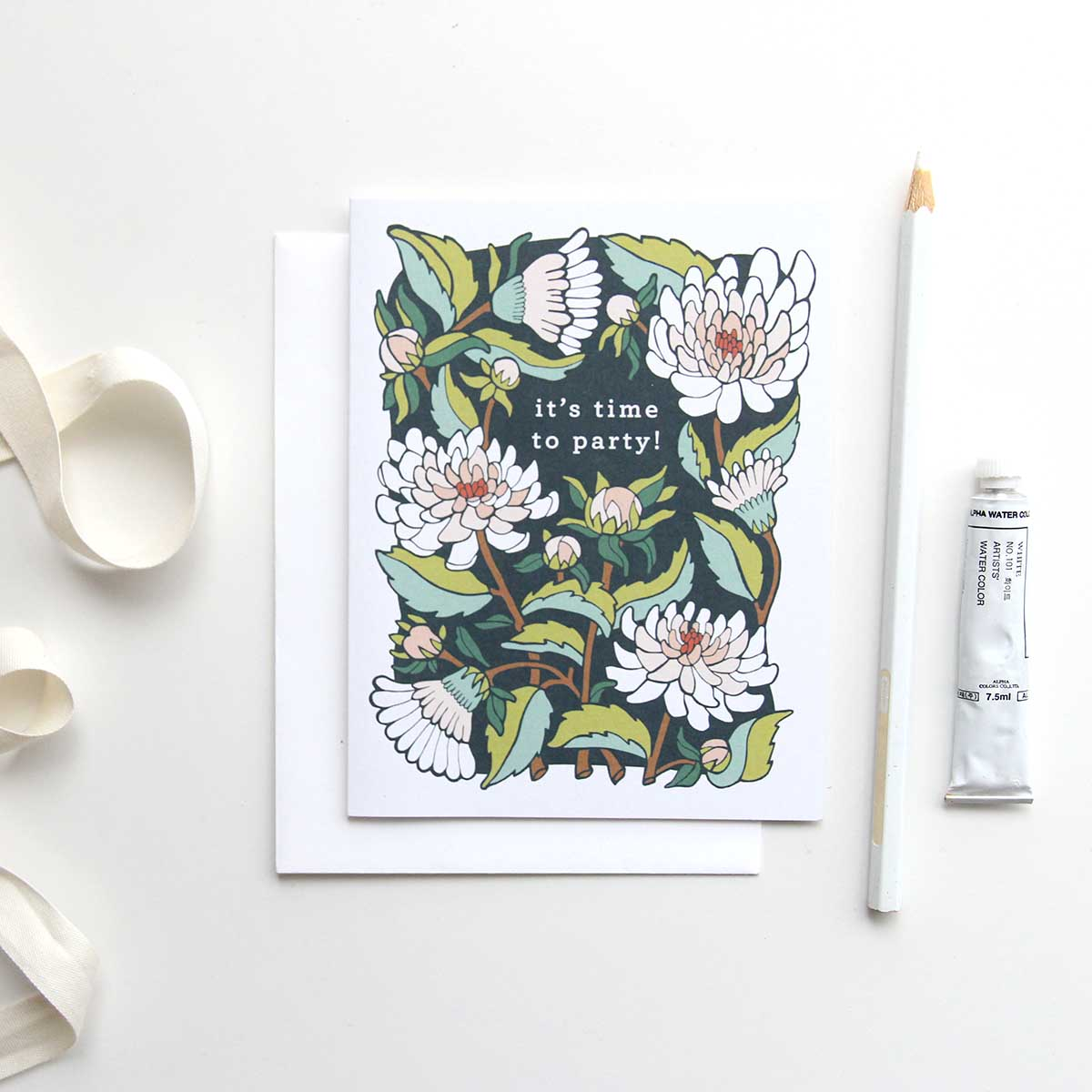 Dahlia Garden - It's Time to Party! Card by Jessie Tyree Jenness