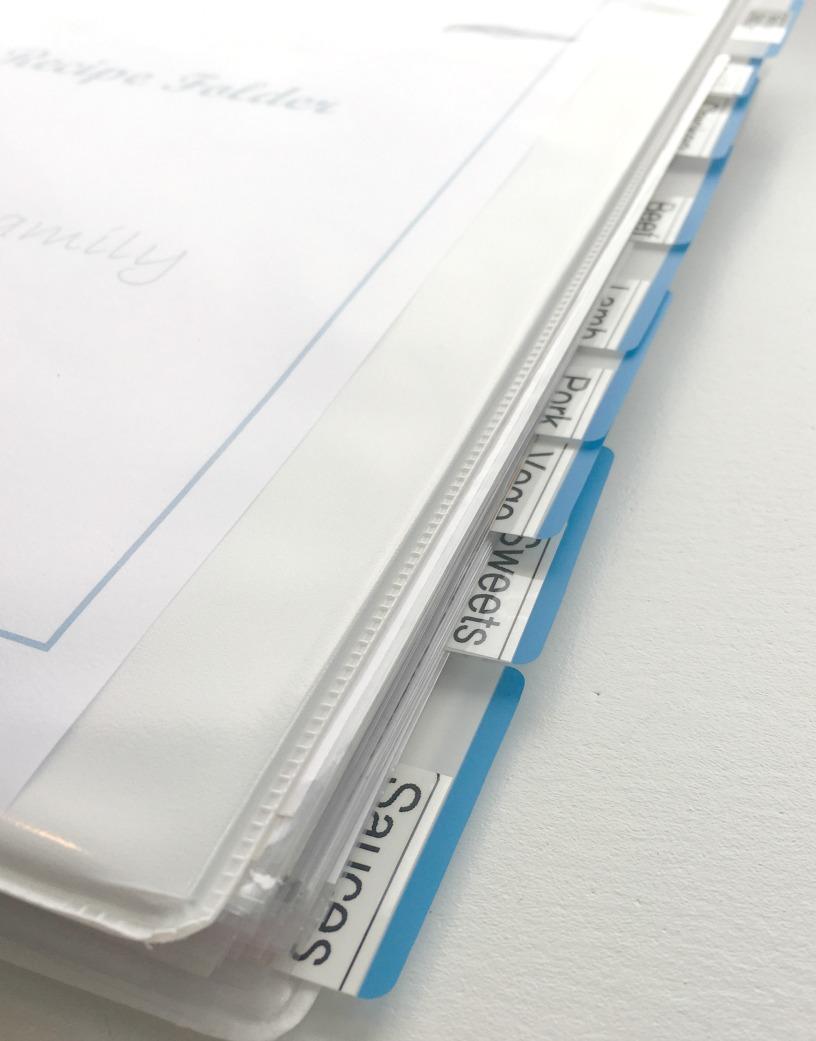 Recipe folder tabs