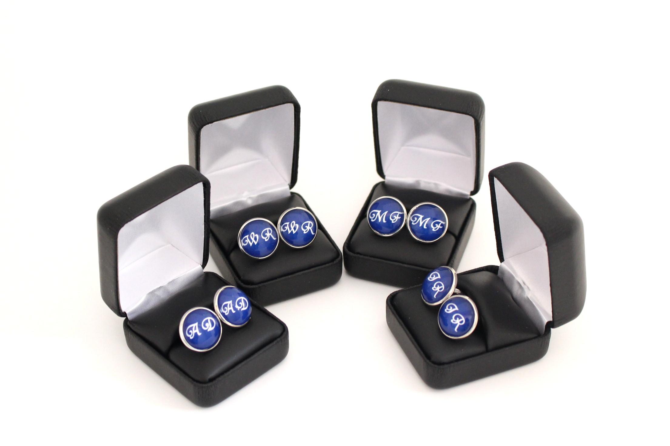 Custom Monogram Cufflinks for Grooms Gift - Groomsmen Gift