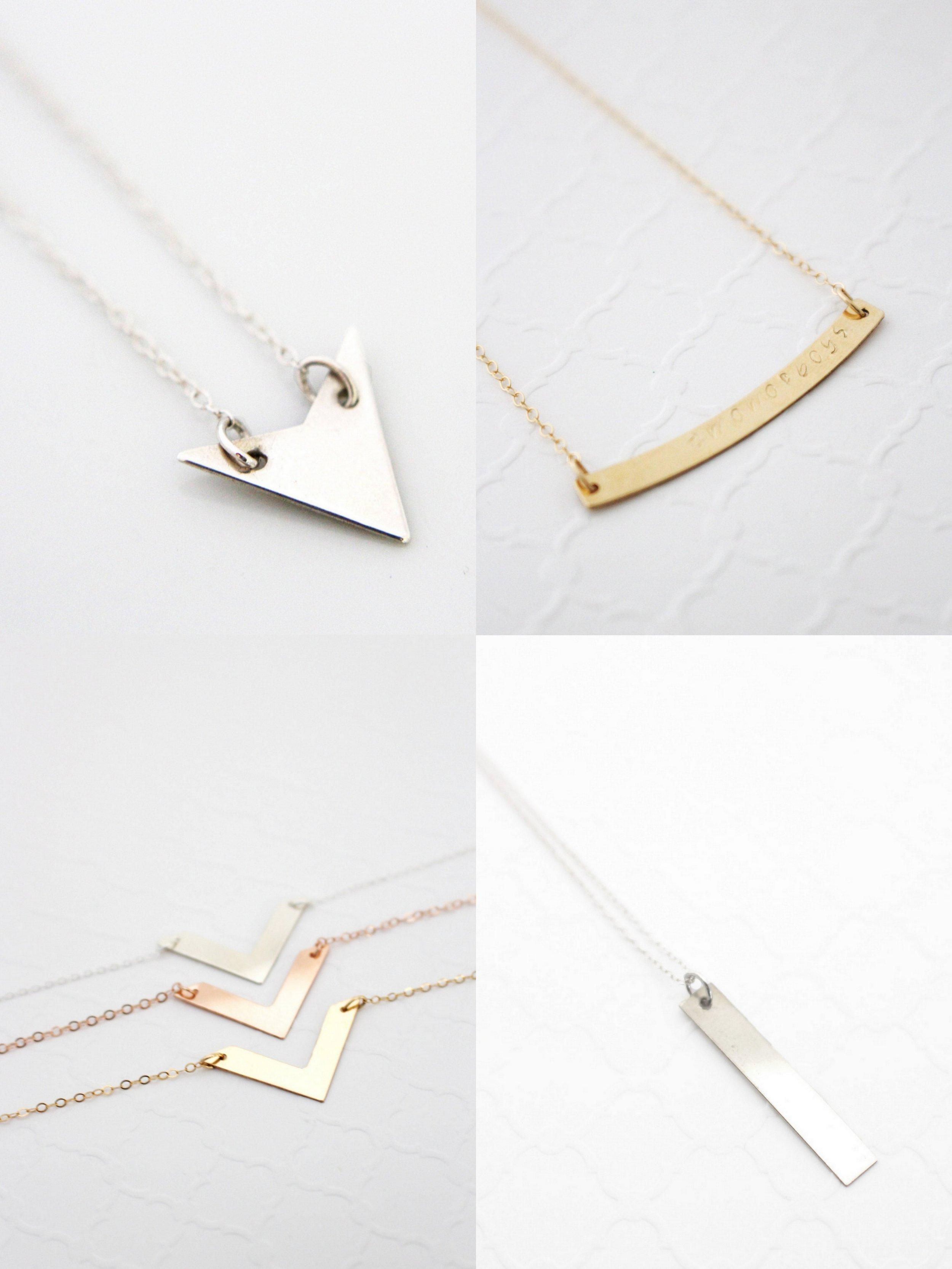 Arrow Necklace - Chevron Necklace - Vertical Bar Necklace - Curved Bar Necklace