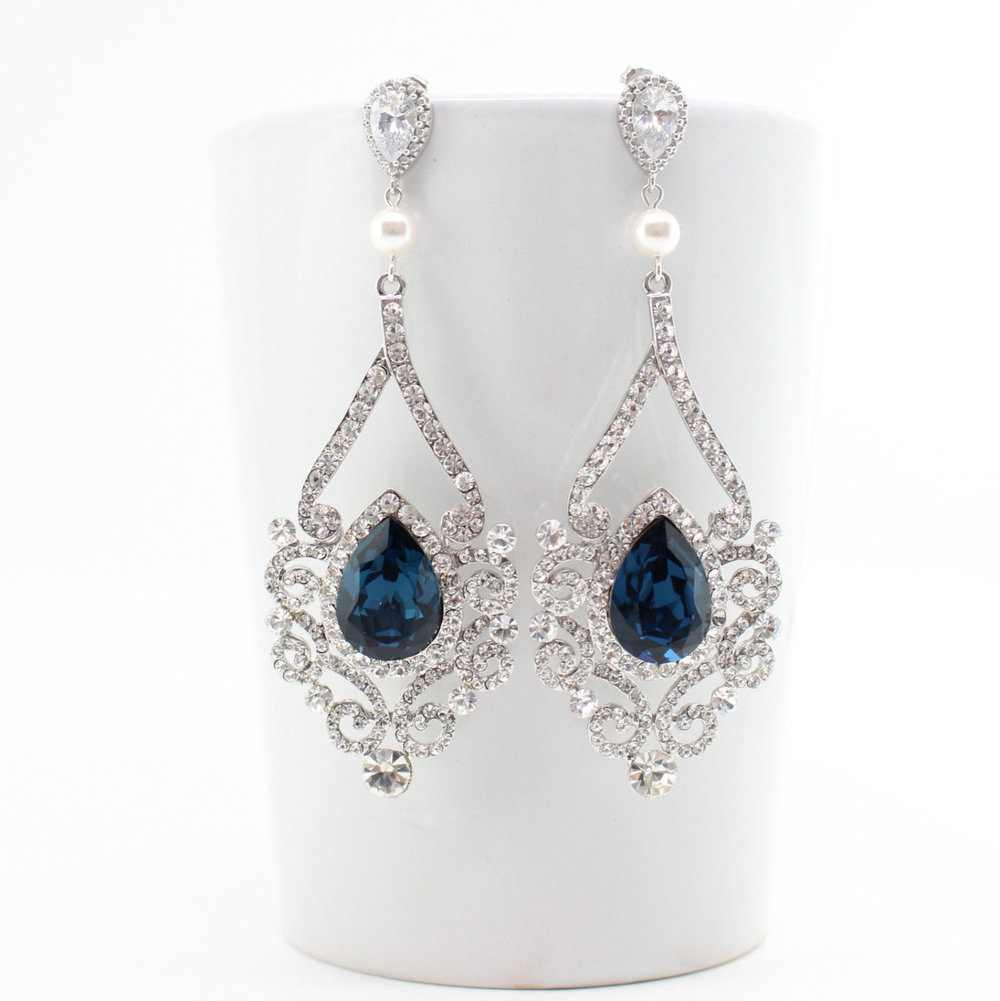 Statement Earrings - Crystal and Pearl Earrings