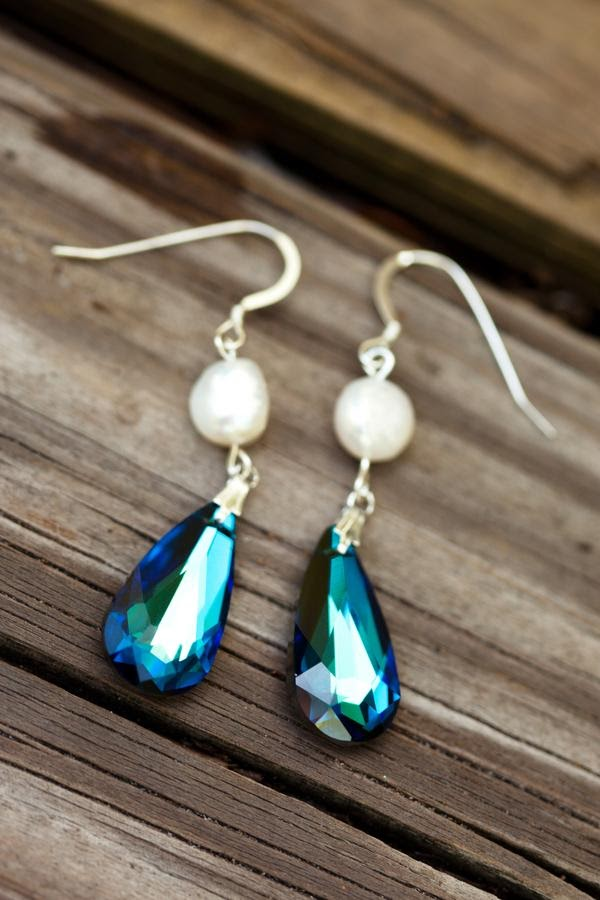 Peacock Bridal Earrings - Wedding Earrings