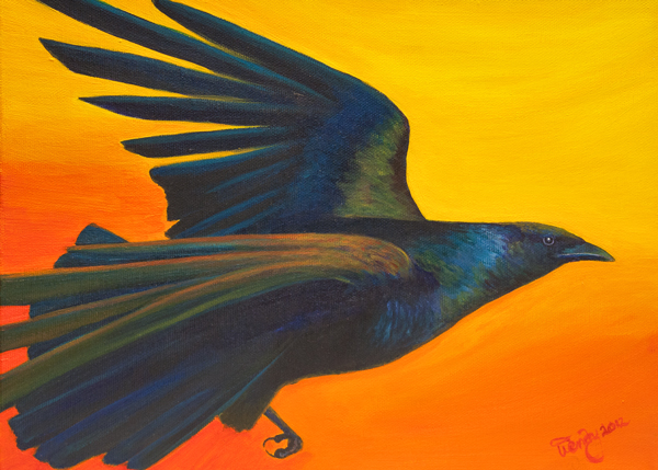 Raven Steals the Sun . Acrylic on canvas.