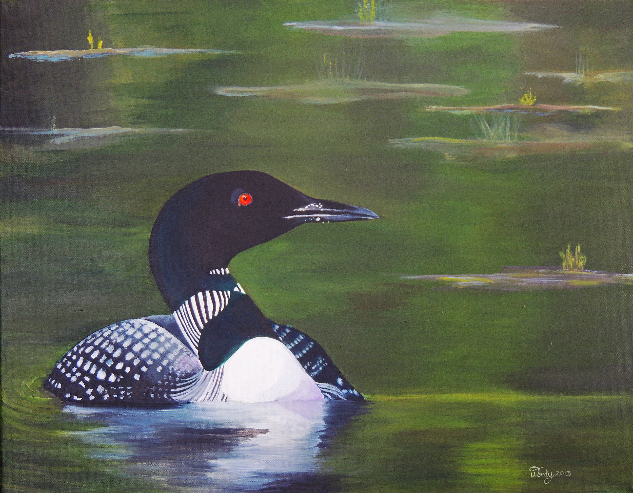 For Charlie . Common Loon. Acrylic on Canvas