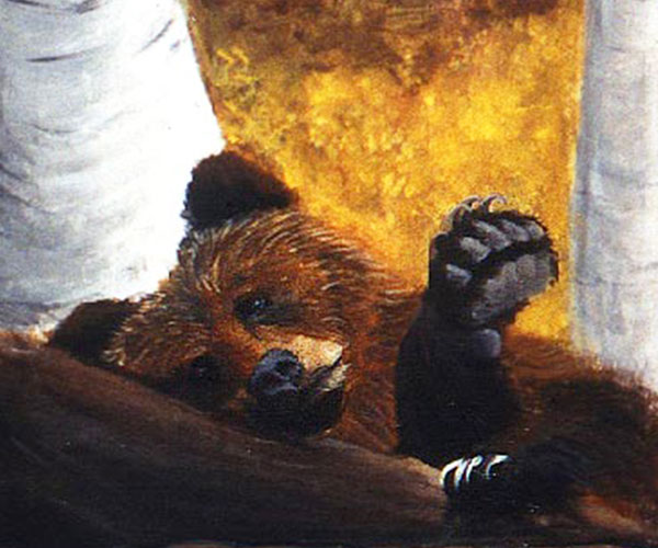Lazy Day.  Brown Bear. Acrylic on Wood Panel (Cabinet Door)