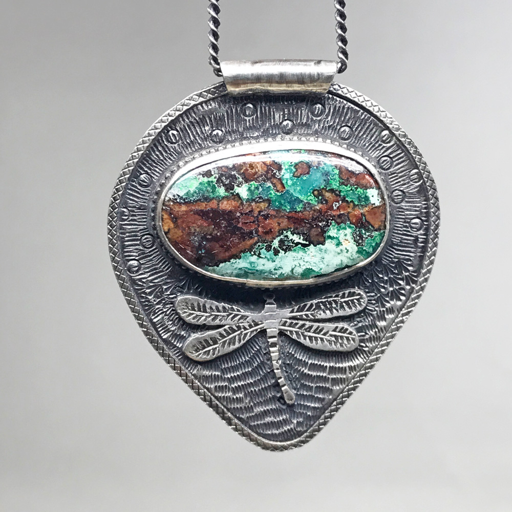 Dragonfly pendant with chrysocolla, (Sold)