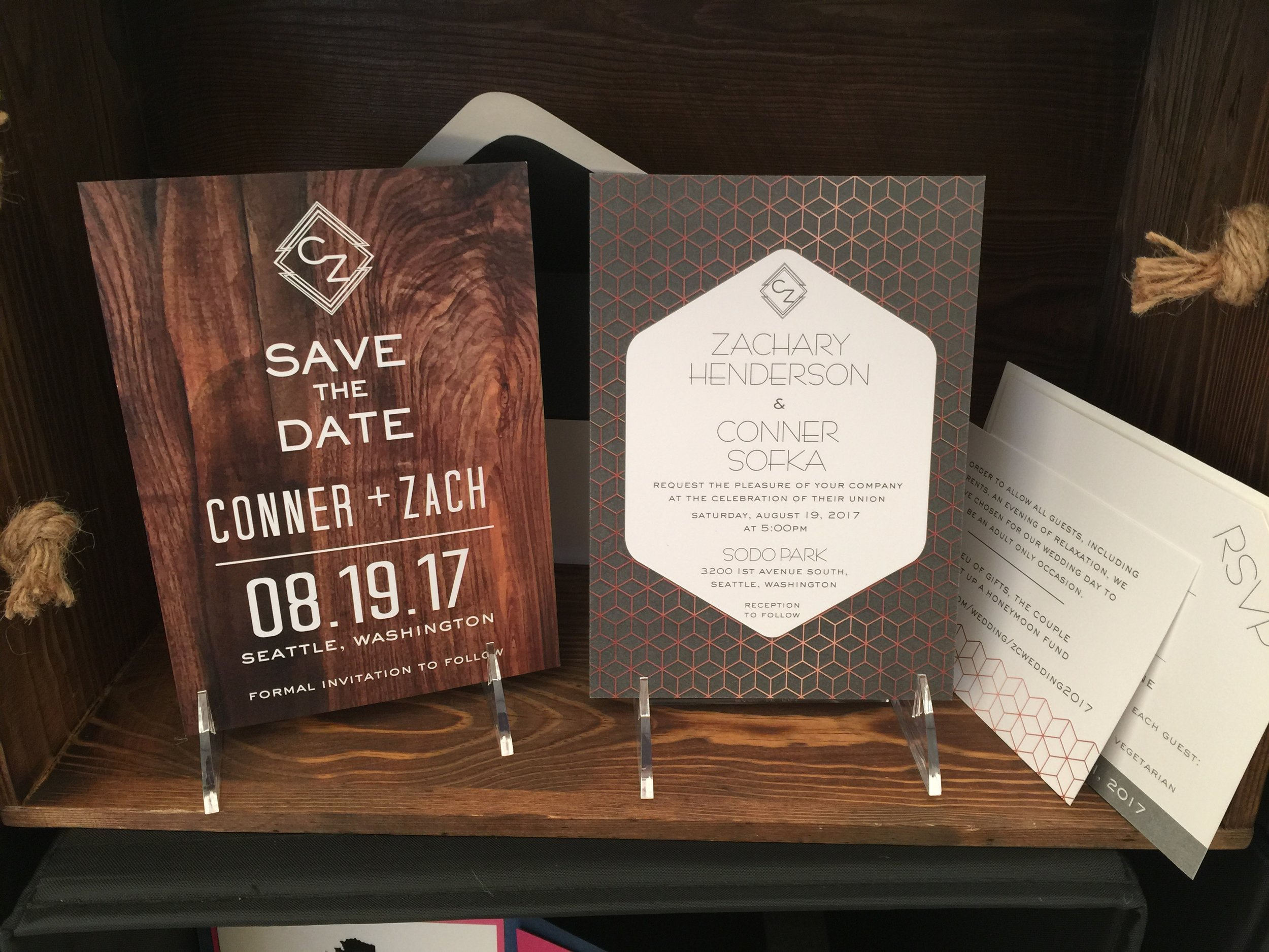 Crave Design | Save the Date | Wood | Custom Monogram | Custom Stationery