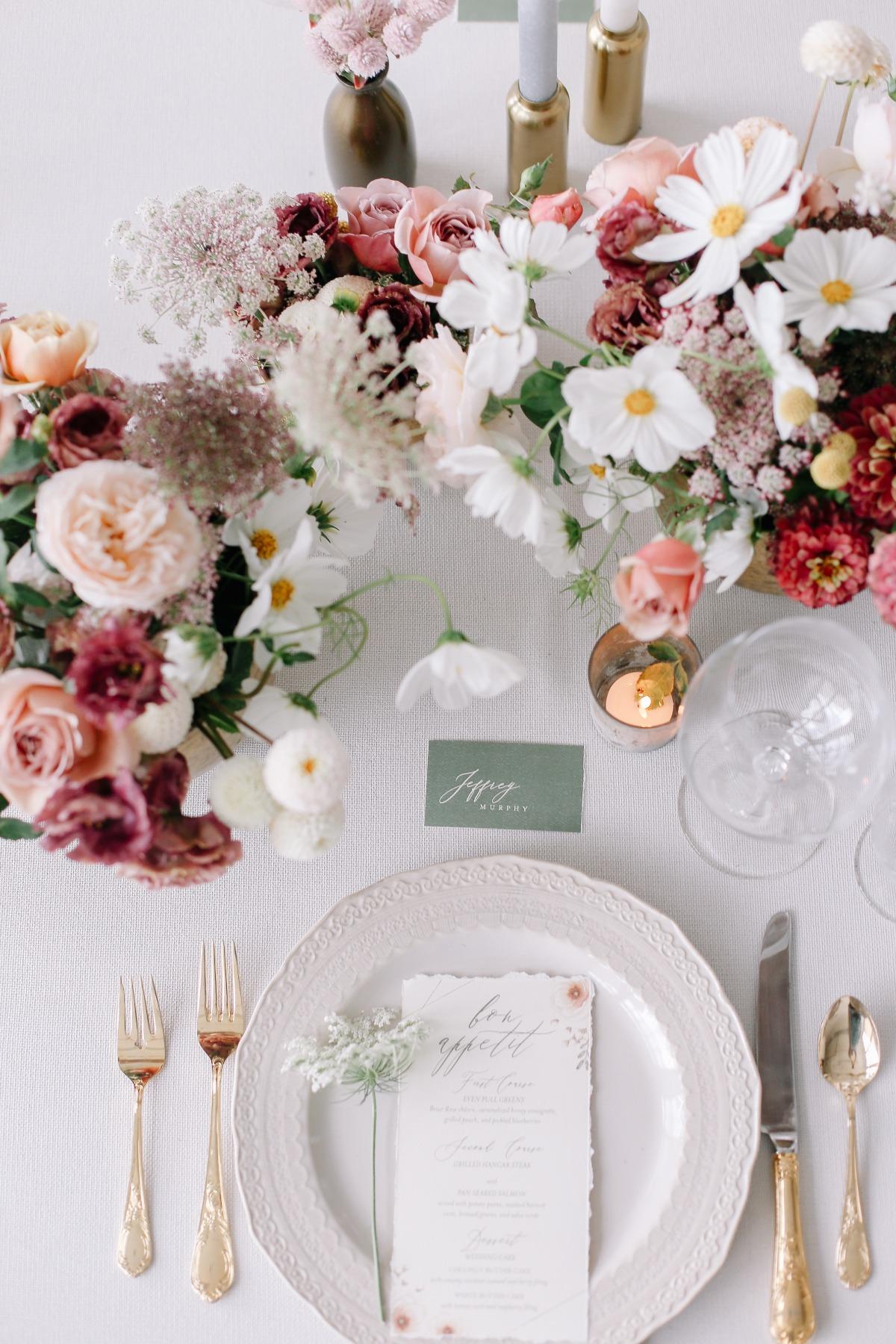 crave-design.com | spottedstills.com | Floral Textured Wedding | Custom Wedding Stationery | Wedding Invitation suite | Dinner Menu
