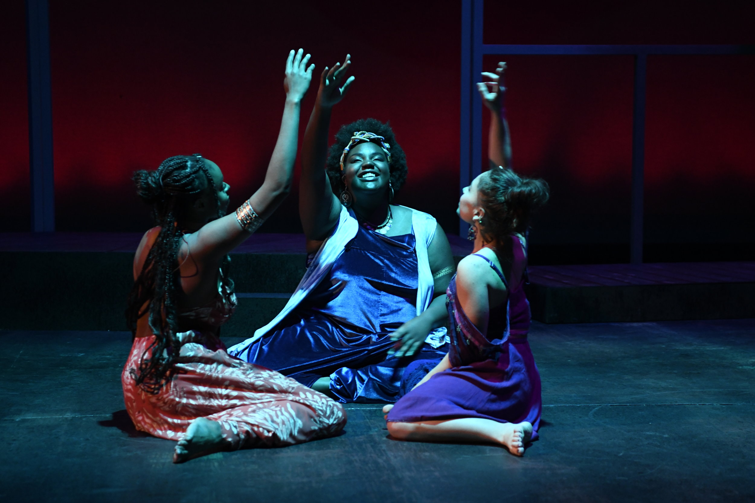 Ifeoma Ukatu as Lady in Orange, Jadae Rose as Lady in Blue, & Cory Sierra as Lady in Purple