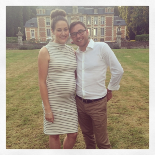 Here I am with my husband (and my daughter bump)celebrating our friends' wedding in France. The setting was beautiful.I was eight months pregnant in this picture and feeling so excited about everything that was to come!