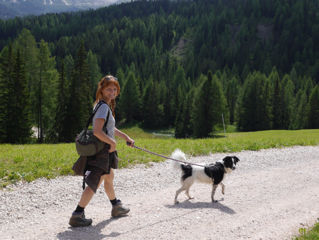 The lady who organised the whole holiday, my fabulous sister looking all Heidiesque and her dog Collie.