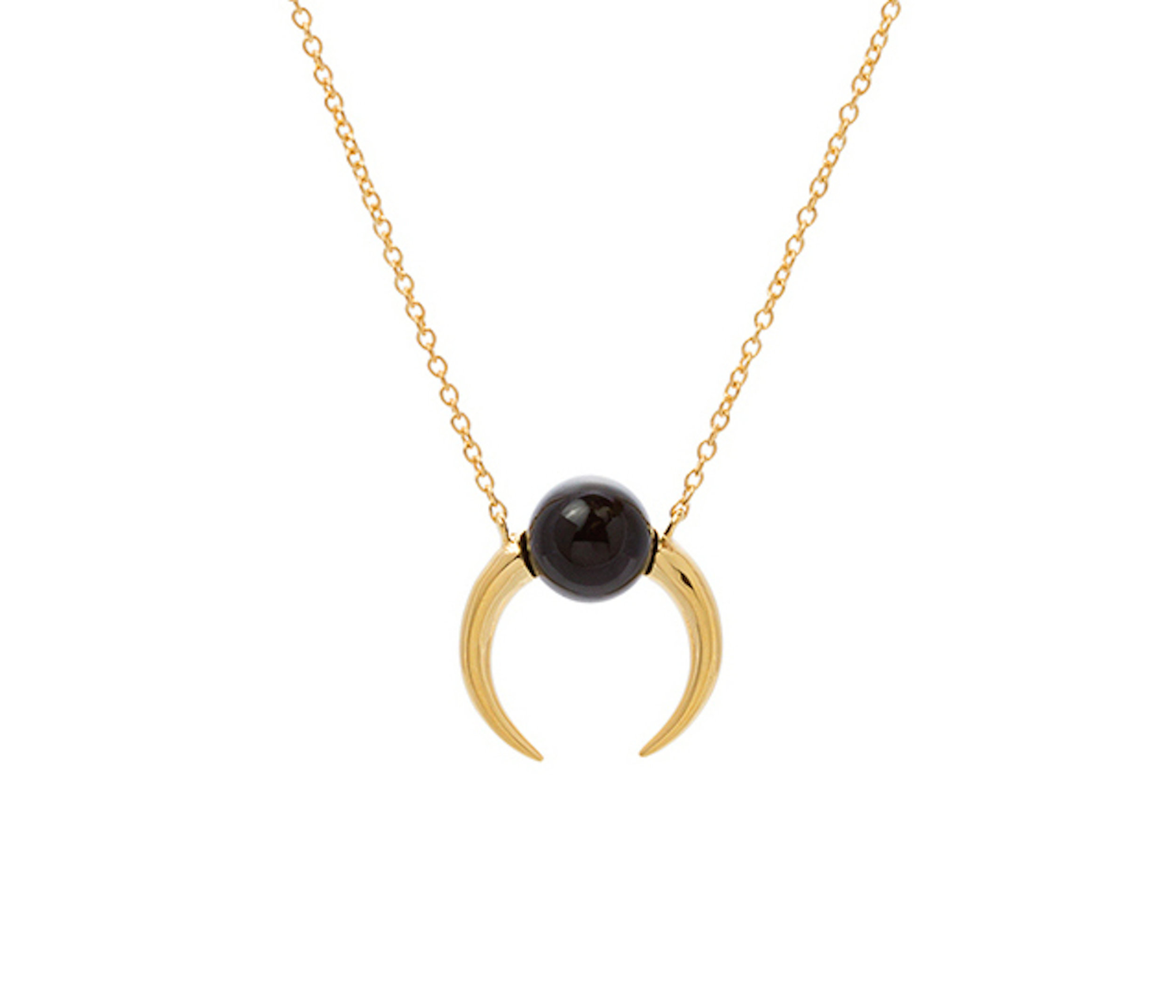 Black agate double tusk necklace