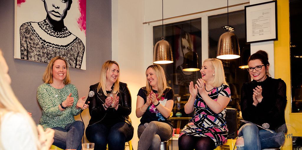 The panel: Hannah Wylie, Natalie Reynolds, Jess Clarke and Amy Newland with host, Juliet Thomas